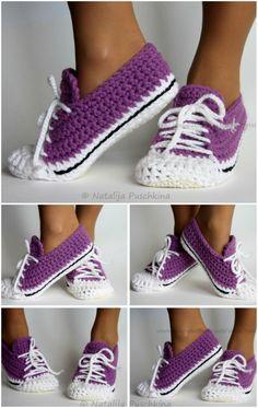 Easy Crochet Slippers, Knit Slippers Free Pattern, Crochet Shoes Pattern, Crochet Boots, Shoe Pattern, Crochet Clothes, Crochet Baby, Felted Slippers, Diy Crochet Shoes