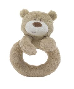 bear. teddy. cuddly. rattle.   http://www.mothercare.com/Mothercare-Loved-So-Much-Ring-Rattle/609438,default,pd.html