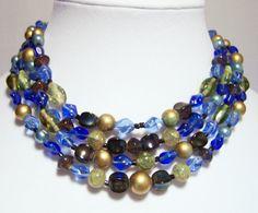 Vintage Japan Blue Green Art Glass Bead Necklace Multi 4 Strand Mid Century Jewelry 116DGZ