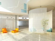 Circular hanging mesh space division, could have the entry door be a cut in the circle | Found on 3-form.com