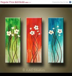 ON SALE Abstract Flower Painting 36 x 36 inches by KAG Custom painting