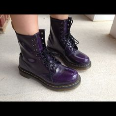 Shiny purple Doc Martens Shiny dark purple doc's with black laces. Only worn twice and the signs of wear are a few wrinkles in the leather. Doc Martens Shoes