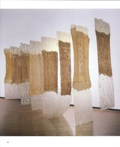 """contingent"" by Eva Hesse. She is definitely one of my newfound favourite artists. Hesse was a process artist that explored interactions between time, people and material changes because of environmental impacts. Her work was a feminist response to the masculine minimalism movement: a more human way to create a phenomenological experience."
