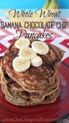 These pancakes were a hit with the whole family. Chocolate chips and bananas are the PERFECT combo!