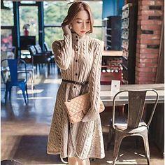 cuello alto suéter largo de las mujeres - USD $ 41.99