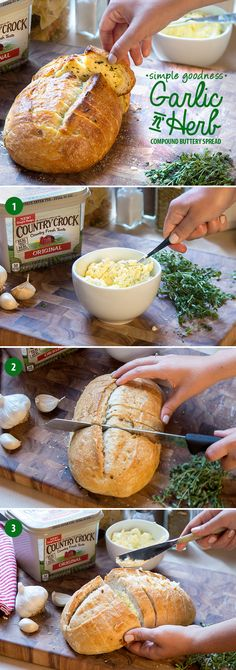 Make crowd-pleasing garlic bread even easier with a robust Garlic N' Herb compound buttery spread. Country Crock's® new, simple recipe has a country fresh taste made from real ingredients—making it the perfect complement to your favorite baguette or rustic loaf. Mix a ½ cup of spread with a clove of garlic and chopped fresh herbs, like parsley, thyme and rosemary. To get the most flavor out of your garlic bread, slice bread ¾ of the way through, apply spread between cuts, and toast until…