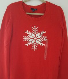 96ee57b5f Tommy Hilfiger Womens Holiday Snowflake Knit Sweater Crewneck L Red