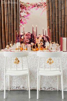 Fuchsia Wedding Table Setting, Bamboo Wedding Decor, Tangerine Wedding Ideas | ElegantWedding.ca