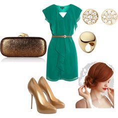 Love this dress, shoe and accessories combination. Very fresh, very Spring ... or Christmas-y.