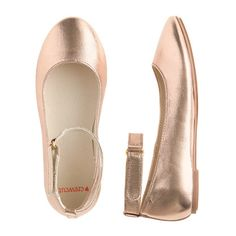 An updated take on her favorite ballet flat. An ankle strap means it will actually stay put (which you'll love), while metallic rose gold gives it major princess points (which <i>she'll</i> love). <ul><li>Fabric upper and lining.</li><li>Man-made sole.</li><li>Import.</li></ul>