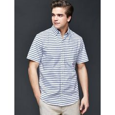 Gap Men Oxford Horizontal Stripe Short Sleeve Standard Fit Shirt ($20) ❤ liked on Polyvore featuring men's fashion, men's clothing, men's shirts, men's casual shirts, imperial blue, regular, mens tailored shirts, mens blue oxford shirt, mens short sleeve oxford shirt and mens oxford shirts