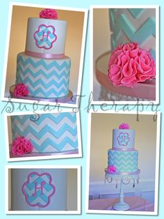 Tiffany blue and orange chevron Birthday Cake Photos For Jayce