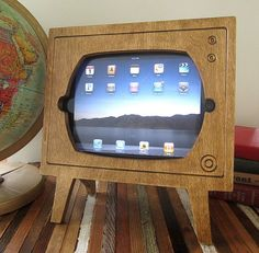 Handmade Natural Stained Wood Retro TV Ipad Dock Eco by miterbox