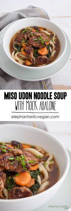 Miso Udon Noodle Soup with Mock Abalone | http://ElephantasticVegan.com