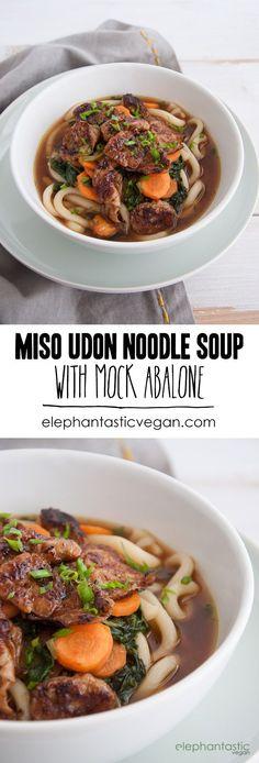 Miso Udon Noodle Soup with Mock Abalone   http://ElephantasticVegan.com
