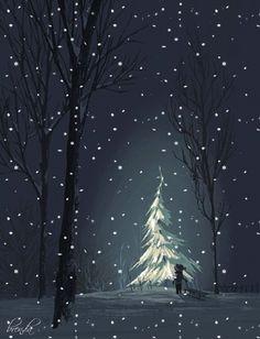 Christmas Tree Painting, Christmas Drawing, Christmas Art, Xmas, Black Canvas Paintings, Acrylic Painting Canvas, Vintage Christmas Images, Christmas Pictures, Painting Snow