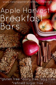 Apple Harvest Breakfast Bars :: Gluten, Egg, Dairy, & Refined Sugar Free (coconut flour, almond flour, maple syrup,coconut shreds, lemon, oats, etc) MUST MAKE: CHEWY BARS