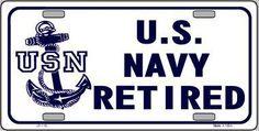 Navy Retired Novelty Metal License Plate
