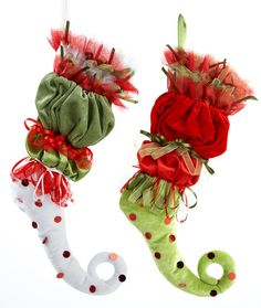 Image detail for -Fancy Elf Stocking, Stockings, Christmas Stockings - image search result only Christmas Stocking Pattern, Christmas Sewing, Christmas Crafts, Christmas Decorations, Christmas Tables, Christmas Fabric, Whoville Christmas, Whimsical Christmas, Victorian Christmas