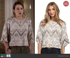 Spencer's white lace cropped sweater with zig zag pattern on Pretty Little Liars.  Outfit Details: http://wornontv.net/43044/ #PLL