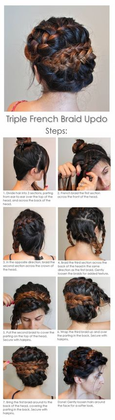 Triple French Braid Updo: