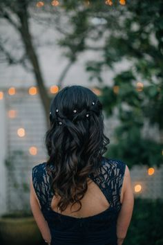 Bridesmaid hair #bridesmaidhair #mediumlength #braid #halfup #wedding #winter #haircolor #twistedcrown -- wedding hair bridesmaid winter half up dark brown hair