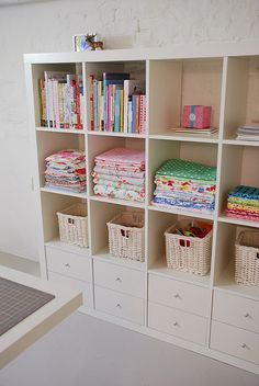IKEA expedit, with drawers in the bottom.l need this for my sewing room Sewing Room Storage, Sewing Room Organization, My Sewing Room, Craft Room Storage, Fabric Storage, Sewing Rooms, Craft Rooms, Storage Ideas, Storage Solutions
