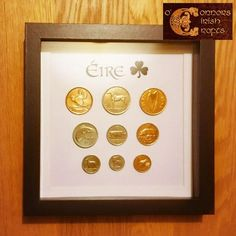 O'Connors Box Framed Pre-Decimal Irish Eire Ireland Coin Collection Display Full Set Celtic Crafts, Irish Celtic, Decimal, Jewellery Boxes, Frame Display, Craft Shop, Displaying Collections, Coin Collecting, Box Frames