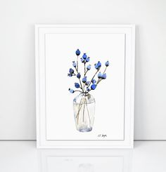 Blue Flower Buds in a vase, original watercolor painting, floral watercolor, farmhouse style, floral Watercolour Painting, Watercolor Flowers, Watercolor Ideas, Watercolours, Flower Vases, Flower Art, Navy Blue Wall Art, Autumn Painting, Blue Flowers