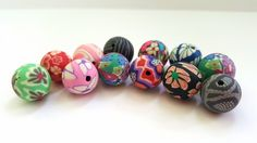 Multicolored Multidesigned Polymer Clay Beads.  12 Beautiful Beads!!   11-12mm in Size.  Pretty and Unique!!  Great Beads!!  Great Prices!! by…