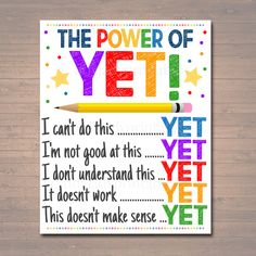 The Power of Yet Printable Poster, Growth Mindset, , Motivational Wall Art, School Office Classroom Teacher Decoration Art - Trend Resiliance Quotes 2020 Growth Mindset Classroom, Growth Mindset Posters, Growth Mindset Display, Dweck Growth Mindset, Growth Mindset Activities, Counselor Office, School Counseling, Counseling Quotes, Counseling Activities