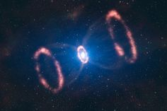 This artist's impression of the material around a recently exploded star, known as Supernova 1987A (or SN 1987A), is based on observations which have for the first time revealed a three dimensional view of the distribution of the expelled material. The observations were made by astronomers using ESO's Very Large Telescope. The original blast was not only powerful, according to the new results. It was also more concentrated in one particular direction.