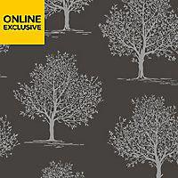 Fine Decor Black Trees Glitter Effect Wallpaper Diy At B Q Black Tree Black Decor Diy Wallpaper