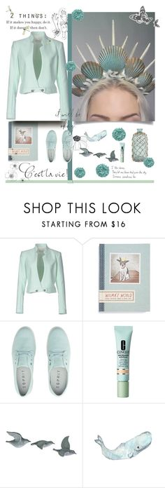 """""""Happiness"""" by alongcametwiggy ❤ liked on Polyvore featuring Thierry Mugler, Chronicle Books, Clinique, WALL and Prada"""
