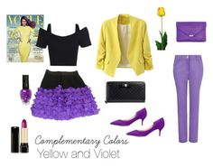 """Complementary Colors - Yellow and Violet"" by pwilson07 on Polyvore featuring Dash, Sonia by Sonia Rykiel, Paul Andrew, Gucci, Lancôme and Laura Cole"