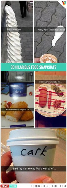 30 Most Hilarious Food Snapchats Ever #funnypics #food #snapchat #funnypictures #bemethis #funnysnapchats