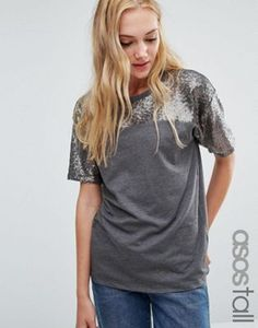 ASOS TALL T-Shirt with Sequin Yoke in Boxy Fit
