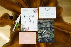 Pink and green botanical wedding invitations | Max & Friends