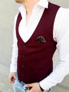 Мъжки елегантен елек онлайн в бордо цвят от Kapriz.eu