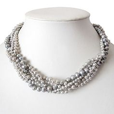 5 Strand Grey 3-7MM Freshwater Pearl Necklace - 16 Inch – USD $ 50.99
