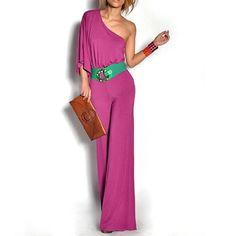 Allegra K Woman Asymmetric Sleeve Stretchy Jumpsuit Fuchsia Color S