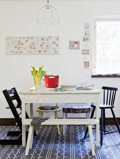 Pöytä on ystävän vanha ja penkki ostettu Helsingistä Pietarinkadulla sijaitsevasta vanhojen tavaroiden liikkeestä. Keltainen tuoli on mummin ja vaarin aarteita ja toinen tuoli keravalaisesta liikkeestä.