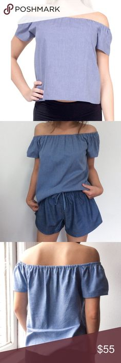 LAST ONE atid carmine off the shoulder top NWT Atid carmine off the shoulder top NWT 100% chambray off the shoulder top brand new never worn ! Atid Clothing Tops Blouses