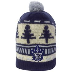 Toronto Maple Leafs Reebok Youth Fan Vintage Holiday Cuffless Pom Toque - shop.realsports #Leafs #Pom #Reebok #Youth #Headwear #Holidays #Jacquard #Vintage #Clothes
