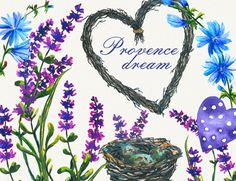 heart clipart, lavender clipart, provence clipart
