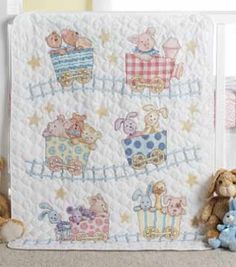 Little Train  Crib Ensemble Kit - Cute Needlework nursery room theme ideas and gifts - Bucilla Baby Needlecraft Kits #needlework #crafting #bucilla #plaidcrafts #baby #train