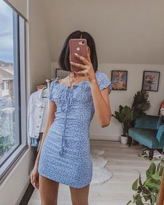 ʚ♡ɞ → ˗ˏˋVanillaaMochii ˎˊ˗ # girly Outfits Bambi Dress / Blue Cute Casual Outfits, Girly Outfits, Mode Outfits, Retro Outfits, Cute Outfits For Parties, Teen Dresses Casual, Blue Skirt Outfits, Cute Vintage Outfits, Cool Girl Outfits