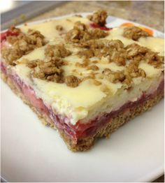 Strawberry Cheesecake Bars with Oatmeal Crust ... healthy yumminess!