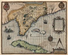 Antique map of Florida, Cuba, and the Southeast US from 1591 - It even includes a sea monster!
