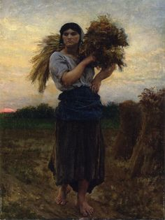 """""""Dear Tweeps Thx for Favs Rt Ff and . - In the Fields, Evening Jules-Adolphe Breton - -"""" Figure Painting, Painting & Drawing, Champs, Jules Breton, Carpeaux, Prince, Fantasy Setting, Great Paintings, Art For Art Sake"""
